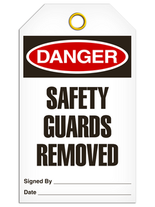 Danger Safety Guards Tags