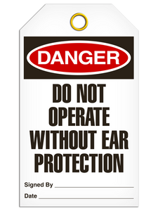 Danger Ear Protection Tags