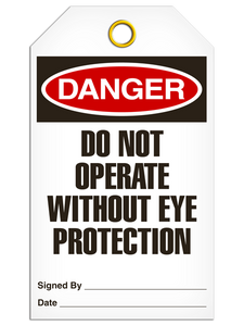 Danger Eye Protection Tags