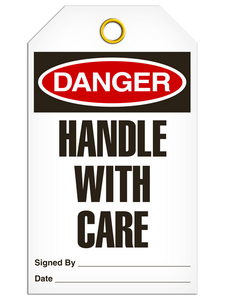 Danger Handle Care Tags
