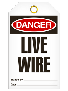 Danger Live Wire Tags