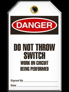 Danger Do Not Throw Tags