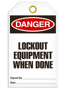 Danger Lockout Equip Tags
