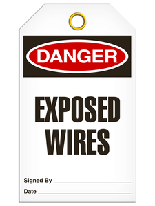 Danger Exposed Wires Tags