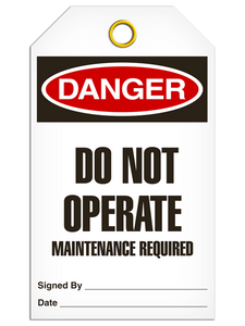 Danger Maint Required Tags