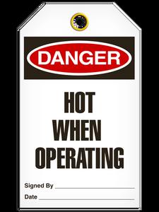 Danger Hot Operating Tags