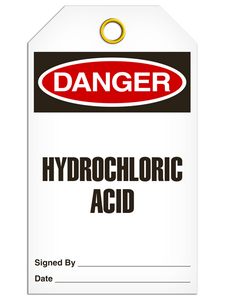Danger Hydrochloric Tags