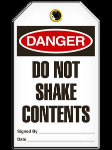 Danger Do Not Shake Tags