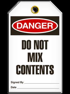 Danger Do Not Mix Tags