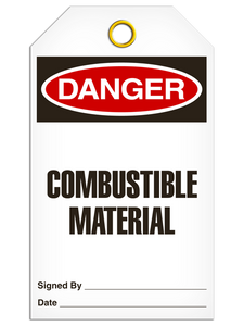 Danger Combustible Tags