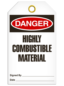 Danger Highly Combustable Material Tags