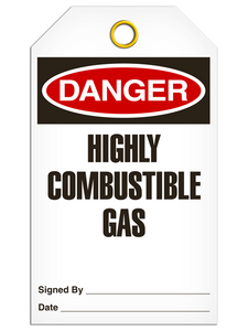 Danger Highly Combustable Gas Tags