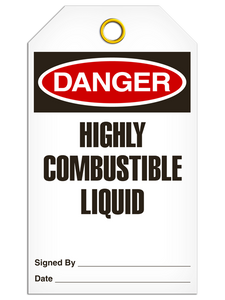 Danger Highly Combustable Liquid Tags