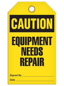 Caution Equipment Repair Tags