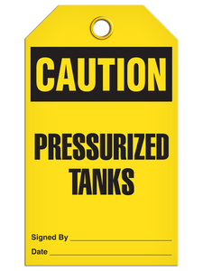 Caution Pressure Tank Tags