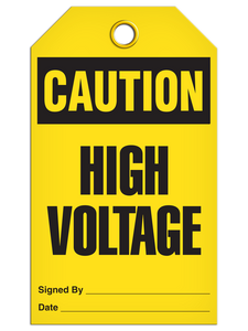 Caution High Voltage Tags