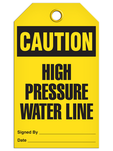 Caution Press Water Tags