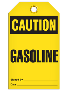 Caution Gasoline Tags