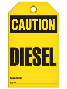 Caution Diesel Tags