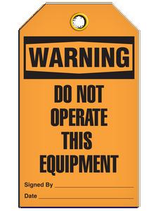 Warning Dno Equip Tags