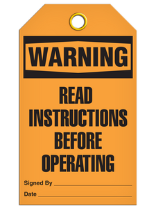Warning Read Instruct Tags