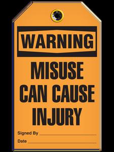 Warning Misuse Injury Tags