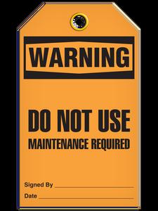 Warning Maint Req'D Tags