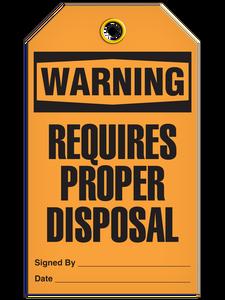 Warning Proper Disposal Tags
