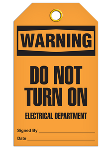 Warning Do Not Turn On Electrical Department Tags