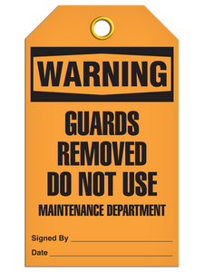 Warning Do Not Use Maintenance Department Tags