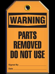 Warning Parts Removed Tags