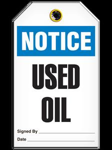 Notice Used Oil Tags