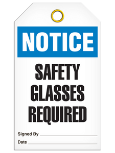 Notice Safety Glasses Tags