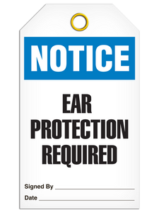 Notice Ear Protection Tags