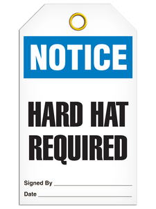 Notice Hard Hat Required Tags