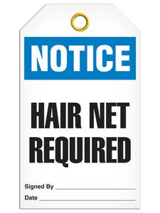 Notice Hair Net Required Tags
