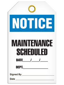 Notice Maint Schedule Tags