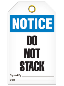 Notice Do Not Stack Tags