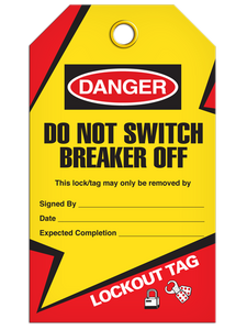 Lockout Breaker Off Tags