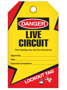 Lockout Live Circuit Tags