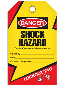 Lockout Shock Hazard Tags