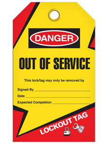 Lockout Out Of Service Tags