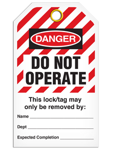 Lockout Do Not Operate StripedTags