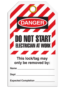 Lockout Do Not Start Electrician At Work - Hazard StripeTags