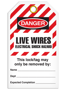 Lockout Live Wires Elec. Haz StripedTags