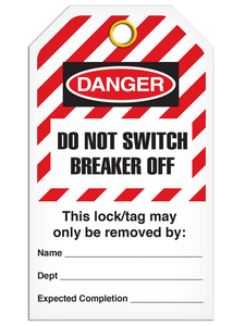 Lockout Do Not Switch Breaker Off StripedTags