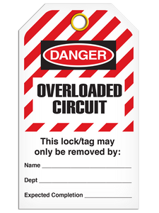 Lockout Overladed Circuit StripedTags