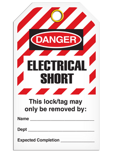 Lockout Electrical Short StripedTags
