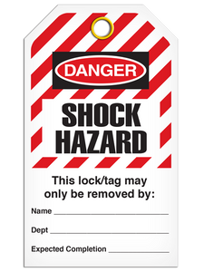 Lockout Shock Hazardard StripedTags
