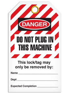 Lockout Do Not Plug In Machine StripedTags